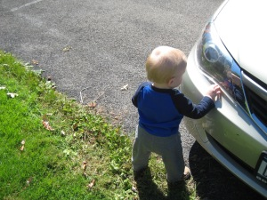 He always wants to touch all the cars parked outside.