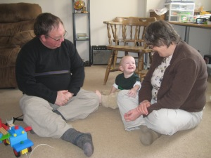 Grandma and Grandpa came to visit last weekend. :) Lewis loved his visitors!