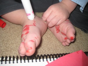 Coloring Valentines. Too bad we can't mail these feet to anyone!