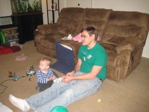 Learning to play Skylanders with Daddy.